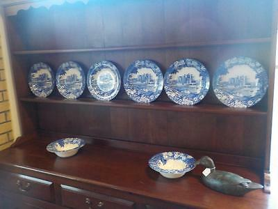Enoch Woods Castle Conway Wood & Sons England Set Of 6 Plates 2 Bowls ( Blue )