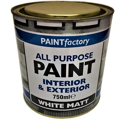 750ml Long Lasting White Matt Paint Can Easy To Apply Indoor Outdoor Adhesion