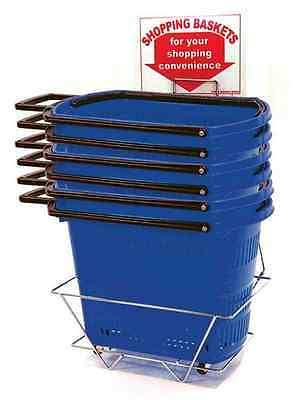 6 Planet Racks Durable Rolling Plastic Shopping Baskets w/ Display Stand - Blue