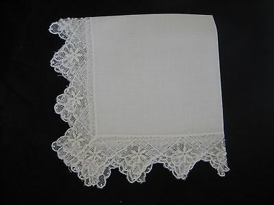 Vintage White Net Lace Wedding Handkerchief Hankie Floral Embroidery