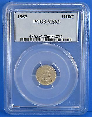 1857 Seated Liberty Half Dime PCGS Certified MS62 Five Cent U.S. Silver Coin