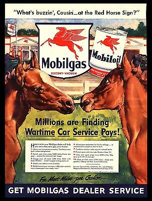 "Original 1942 ""mobiloil-Mobilgas"" Red Horse Heads Corral Art Print Ad"