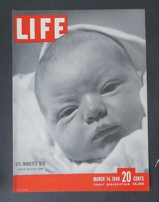 Original Life Magazine COVER ONLY March 14 1949   Dorothy McGuire's Baby