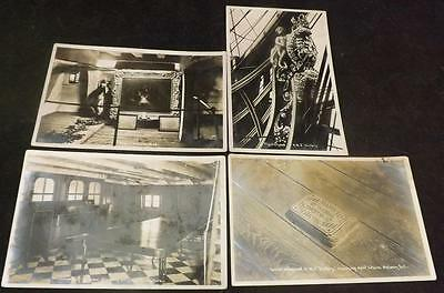 4 Vintage Postcards UK Nelson HMS Victory where fell died figurehead PC150
