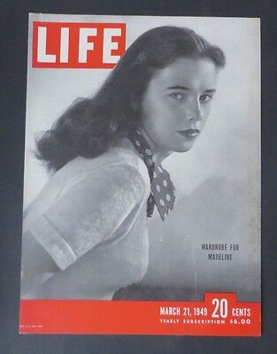 Original Life Magazine COVER ONLY March 21 1949   Wardrobe for Madeline