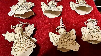 Lot of 6 Angel Ornaments Metal Different Wings! Cute! NOS