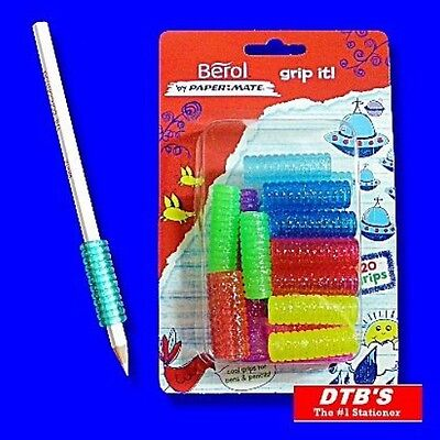 20 X Berol Grip It Pencil Pen Grips Handwriting School Writing Aid