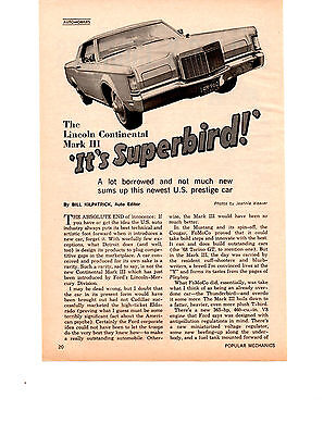 1968 Lincoln Continental Mark Iii ~ Original Smaller 2-Page Article / Ad