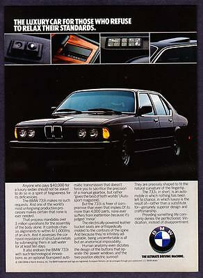 "1984 BMW 733i Sedan photo ""Refuse to Relax Your Standards"" promo print ad"