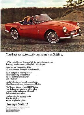 """1965 red Triumph Spitfire Convertible photo """"Acting Sassy"""" vintage print ad"""