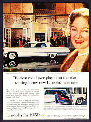 1959 Actress Helen Hayes photo white Lincoln Premiere Coupe promo print ad