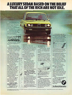 "1976 BMW 530i Sedan photo ""All Rich Not Idle"" print ad"