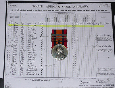 Queen's South Africa Medal 2 Clasps To South Africa Constabulary + Roll