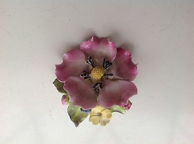 Super Vintage 40s 50s Gold Tone & Bone China  Sylvac Flower Brooch reenactment