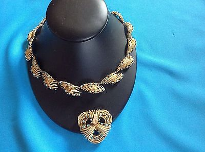 Hinged Vintage 40s 50s Filigree Gold Metal  Choker Necklace & Brooch Reenactment