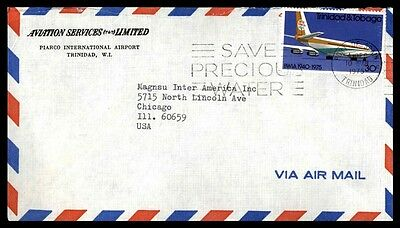 1975 Trinidad Aviation Services Nice Cover Airmail To Chicago Illinois Usa