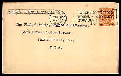 GB Torchlight Tattoo Stadium 1925 Postmark on Cover to US Toned Back
