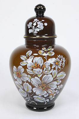 Amber Cased Glass Large Ginger Jar With Decal & Hand Painted Flowers Gilt Rimmed