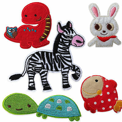 Cute Animals Horse Rabbit Fish Iron Sew on Appliques Patches Dinosaurs Turtle
