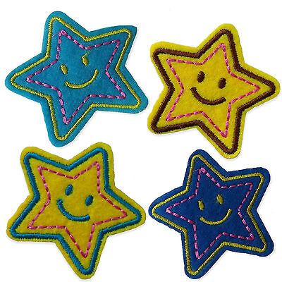 Smiley Stars Iron Sew on Appliques Patches Smile Happy Face Embroidered Motif
