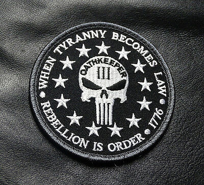 Three 3%  Percenter Oathkeeper Rebellion  Tyranny Morale  Patch By Miltacusa