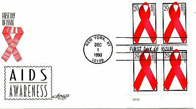 US FDC #2806 AIDS Plate Block, Artmaster (3222)