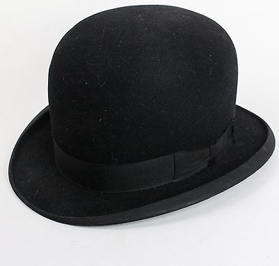 RARE ANTIQUE Stetson Classic Black 'Feather Weight' Bowler Hat 6 7/8 Excellent