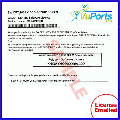 NEW Group Series 1080p HD Software Option License - Part Number 5150-65082-001