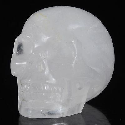 """1.93""""Natural Clear Quartz Crystal Hand Carved Smiling Skull,Collectible#22W96"""