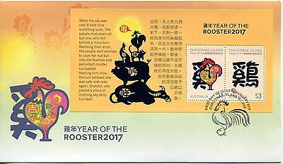 2017 Christmas Island Year of The Rooster (Mini Sheet) FDC - Christmas Is PMK