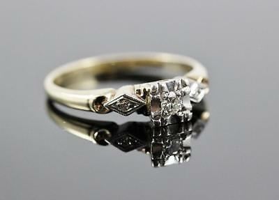1930s Beautiful Vintage 14K Yellow Gold & Diamond Size 6.25 Engagement Ring