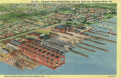 Postcard - Newport News Shipbuilding and Dry Dock, Newport News, Virginia - 1943