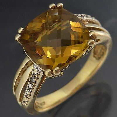 Cairngorm Checkerboard CITRINE 9K GOLD & DIAMOND RING yellow estate Sz N1/2
