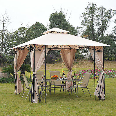 10 x 10ft Gazebo Canopy Garden Shade Waterproof Roof w/ Metal Frame Curtains