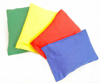 Colourful Bean Bags -Children Kids Play PE Games - Packs of 4 or 12 - 4 colours