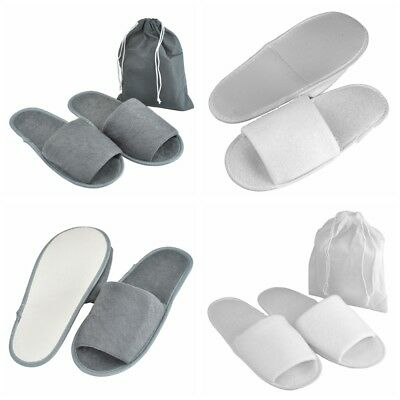 Lot Foldable Towelling Disposable Slippers Hotel Travel Spa Guest Open Toe Shoe
