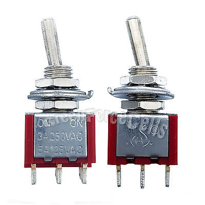 50 pcs High Quality 3 Pin SPDT ON-ON 2 Position Mini Toggle Switches MTS-102 Red