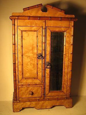 Antique doll French faux bamboo miniature mirrored wardrobe armoire.