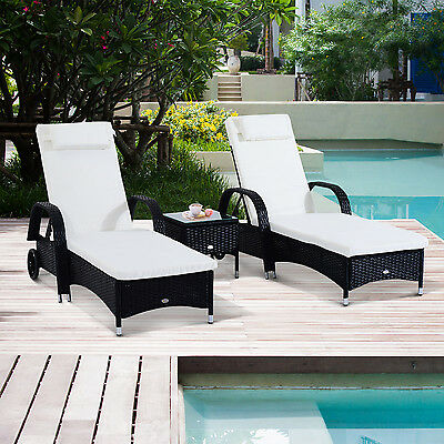 3pcs Deluxe Outdoor Rattan Wicker Patio Chaise Lounge Set w/ Side Table Cushion
