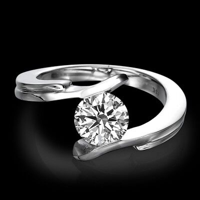 Solitaire 18K White Gold Natural Round Cut Diamond Engagement Ring 0.31 CT F/SI1