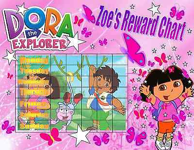Dora The Explorer Diego Personalised With Free Stickers Reward Laminated Chart