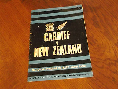 1972 Cardiff V New Zealand Rugby Union Programme For Match  At Cardiff Arms Park
