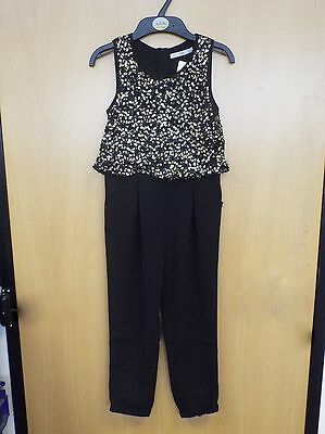 New Girls Ex M&S Black Gold Sequin Jumpsuit Playsuit Party Age 5-14 Years