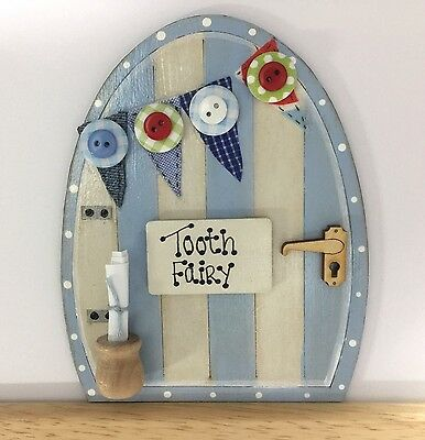 Handpainted Baby Blue Fairy Door Pixie Tooth Fairy Gift Skirting Board Decor