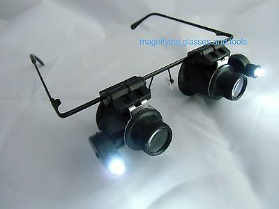 spectacle glasses eye loupe 20x LED Head magnifying glass Magnifier Hands free