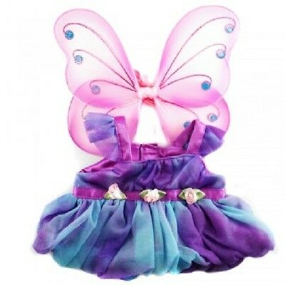 Fits build a bear - Purple Fairy Butterfly Costume & Wings Teddy bear clothes
