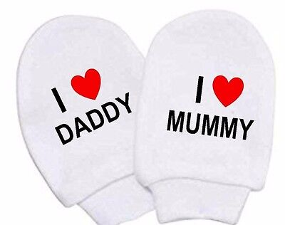 Baby Girl Boy White Cotton I Love Mummy  I Love Daddy Scratch Mittens Newborn