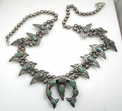 Nice Early Dark Green Turquoise Heavy Squash Blossom Necklace Coin Silver Leaves