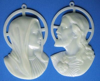 Vintage Catholic JESUS and MARY Luminous Glow In the Dark Wall Plaques