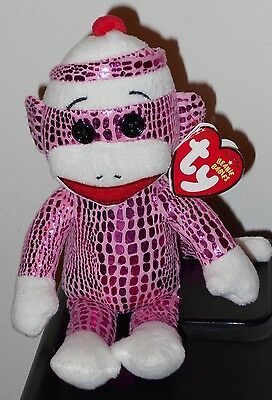 NMT* Ty Beanie Baby ~ SOCK MONKEY (Pink Sparkle) ~ MINT with NEAR MINT TAGS ~NEW